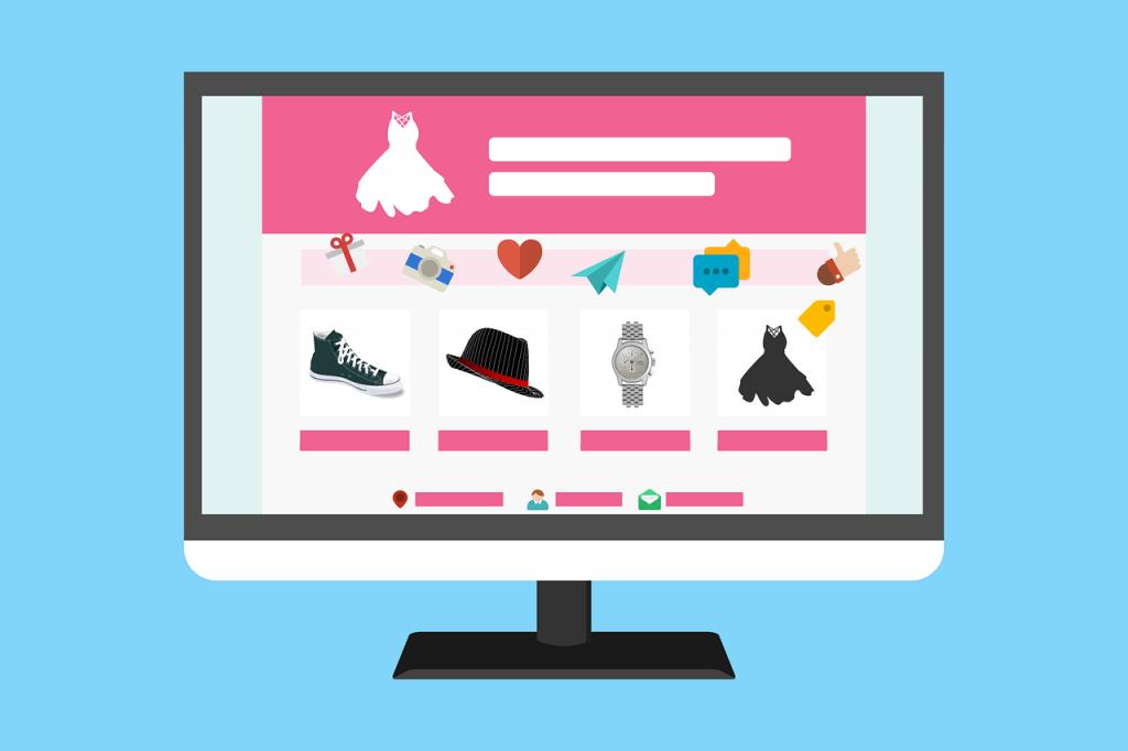 графично изображение на монитор, на който е отворен сайт за дрехи